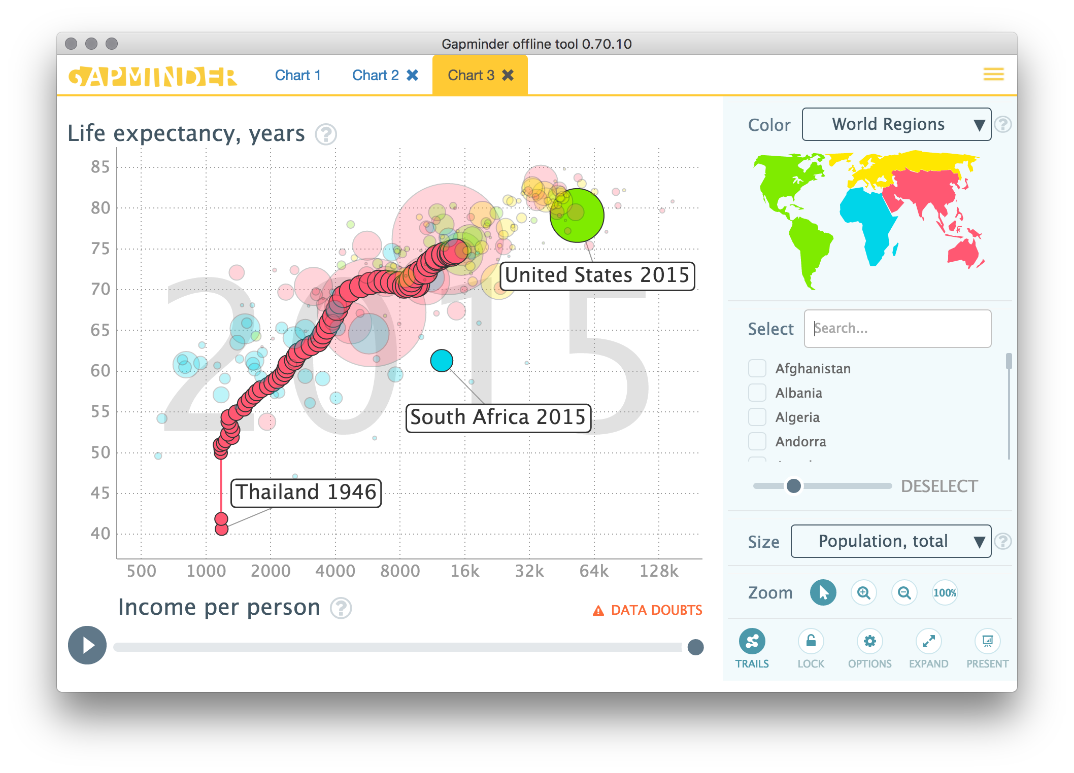 Gapminder Offline Screenshot